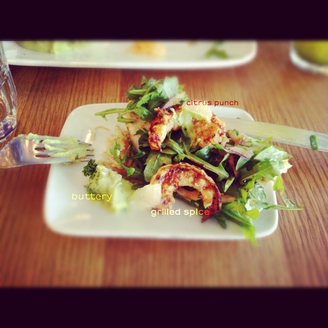Shrimp skewer salad avocado hummus